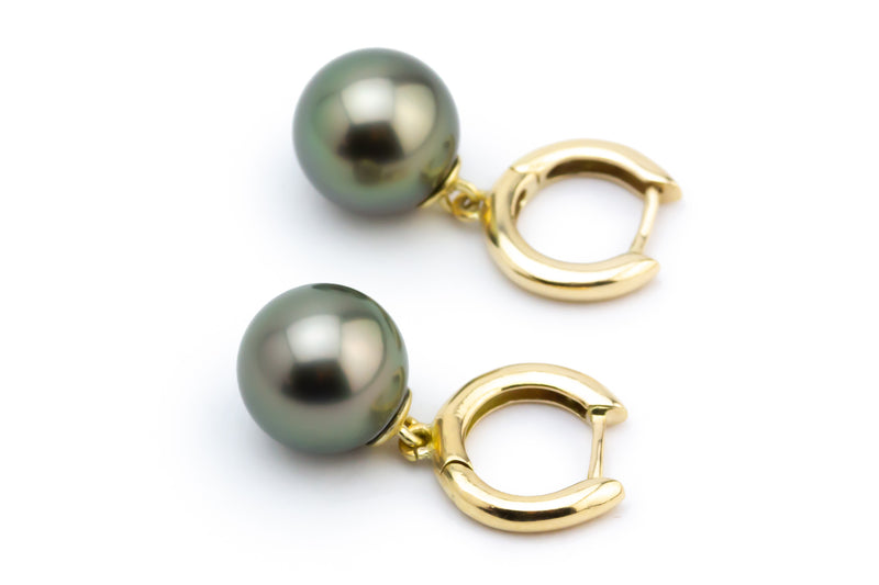 Dark Stormy Green Tahitian Pearl Hoop Earrings