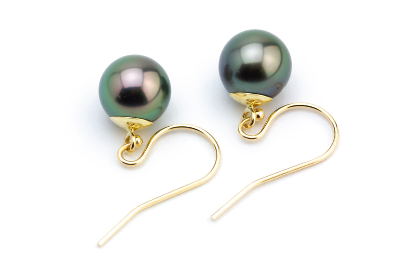 Luscious Peacock Tahitian Pearl Dangle Earrings