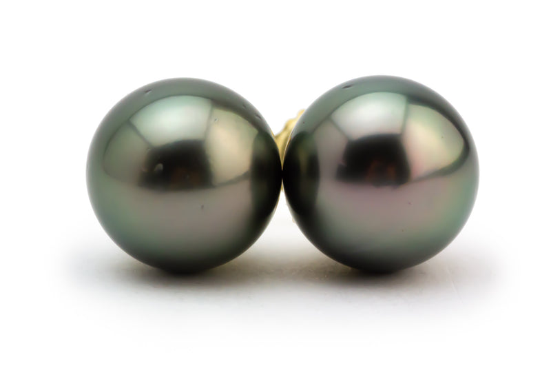 10mm Kamala Tahitian pearl stud earrings dark green peacock