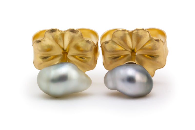 Light Silvery Tahitian Keshi Pearl Stud Earrings