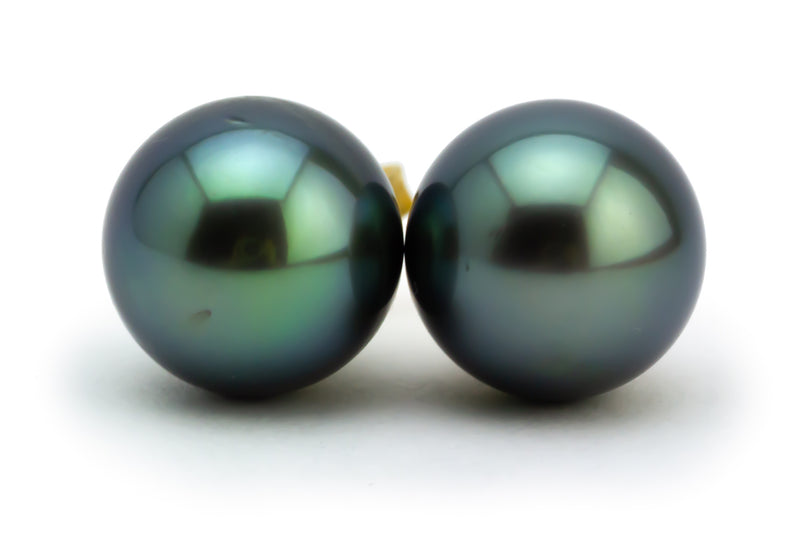 Dark Blue-Green Tahitian Pearl 11mm Statement Stud Earrings