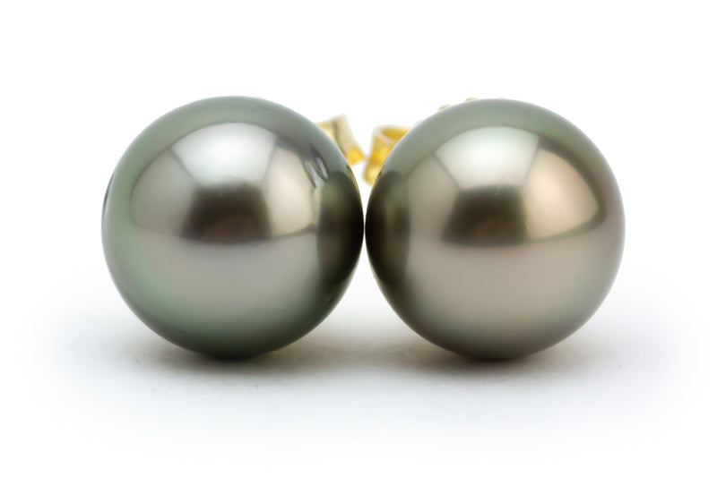 Silver Peacock Tahitian Pearl 8.7mm Stud Earrings
