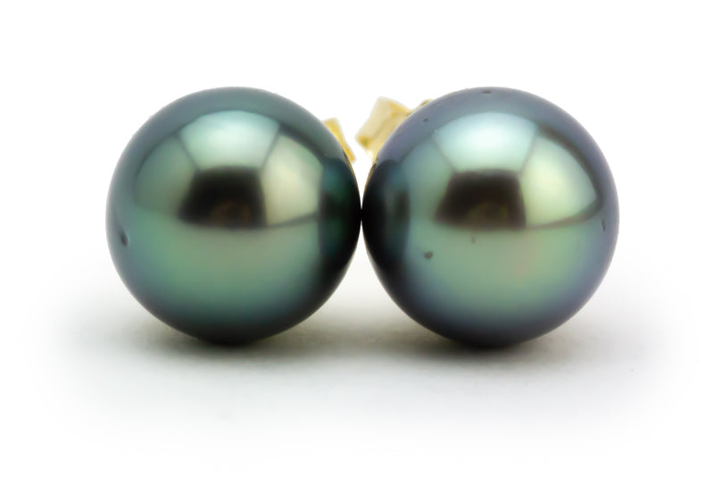 Green-Blue Tahitian Pearl 8.9mm Stud Earrings