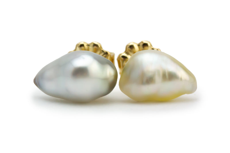 Tiny White Drop Tahitian Keshi Pearl Stud Earrings