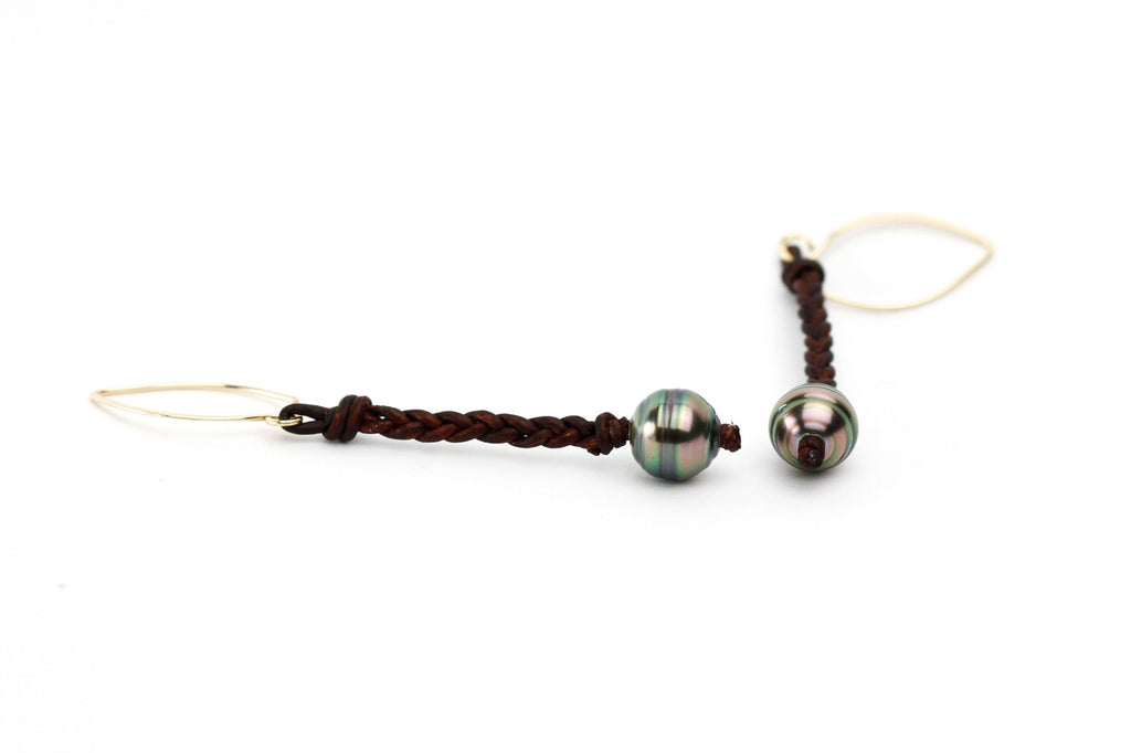 Indian Summer Tahitian Pearl & Leather Earrings