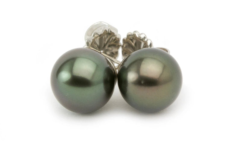 11mm dark green Tahitian pearl statement stud earrings