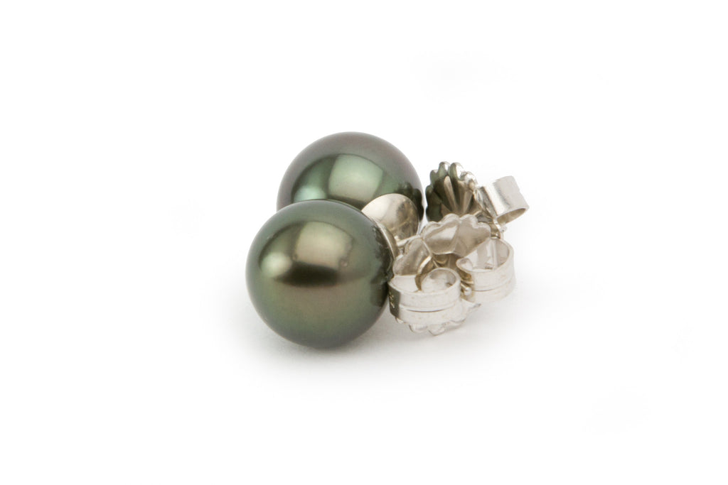 11mm dark green Tahitian pearl statement stud earrings, sustainable, fair trade