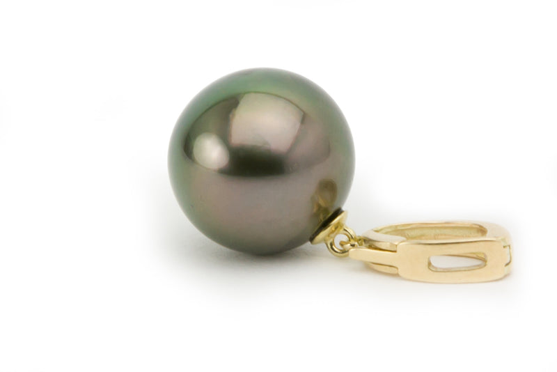 14.5mm peacock green round Tahitian pearl enhancer pendant