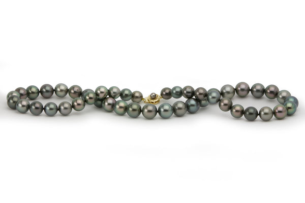 Dark, multi-colored sustainably produced Tahitian pearl strand necklace