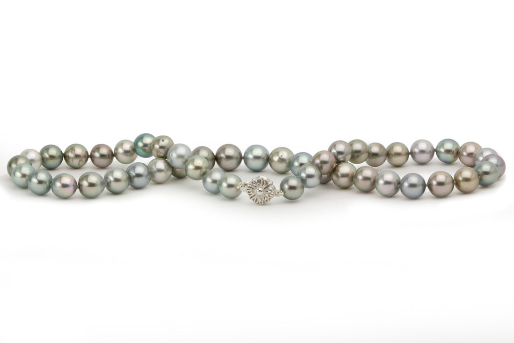 Light pastel multi-color Tahitian pearl strand necklace