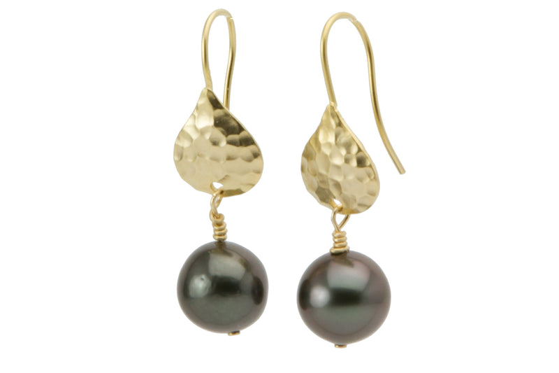 Hammered brass and Tahitian pearl dangle earrings