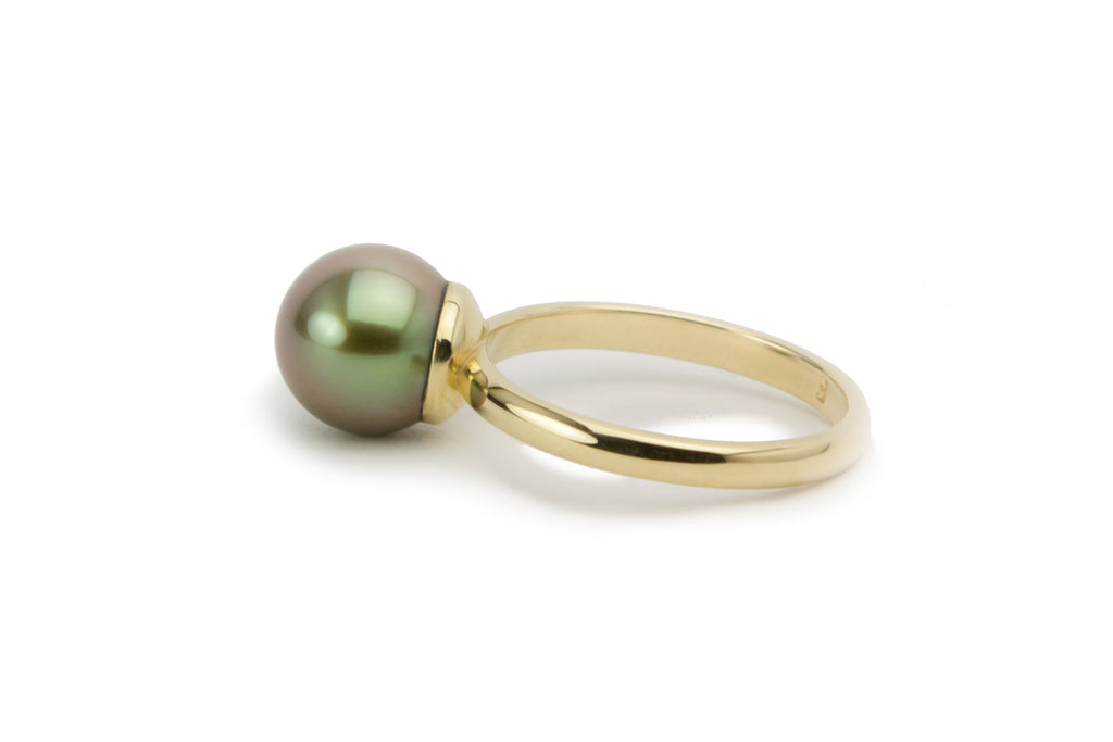 Lavender gold ecologically produced Tahitian pearl ring