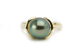 Peacock green 10mm Tahitian pearl ring, Euro shank