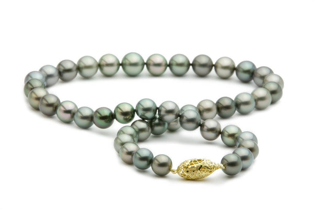 10 to 12mm Tahitian pearl aqua silver strand necklace