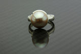 Pastel pink gold Tahitian half pearl on silver ring band