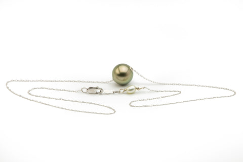 Floating Golden Tahitian Pearl Solitaire Necklace