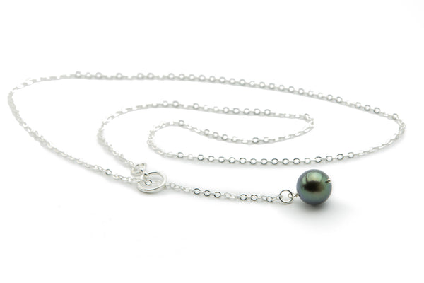 12mm Tahitian green pearl lariat necklace on silver