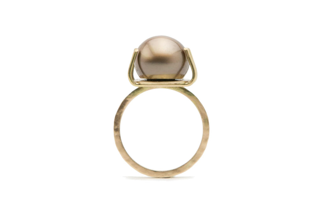 Handmade Tahitian pearl pink-bronze ring on 14K gold