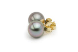 Lavender Pink Silver Tahitian Pearl Stud Earrings