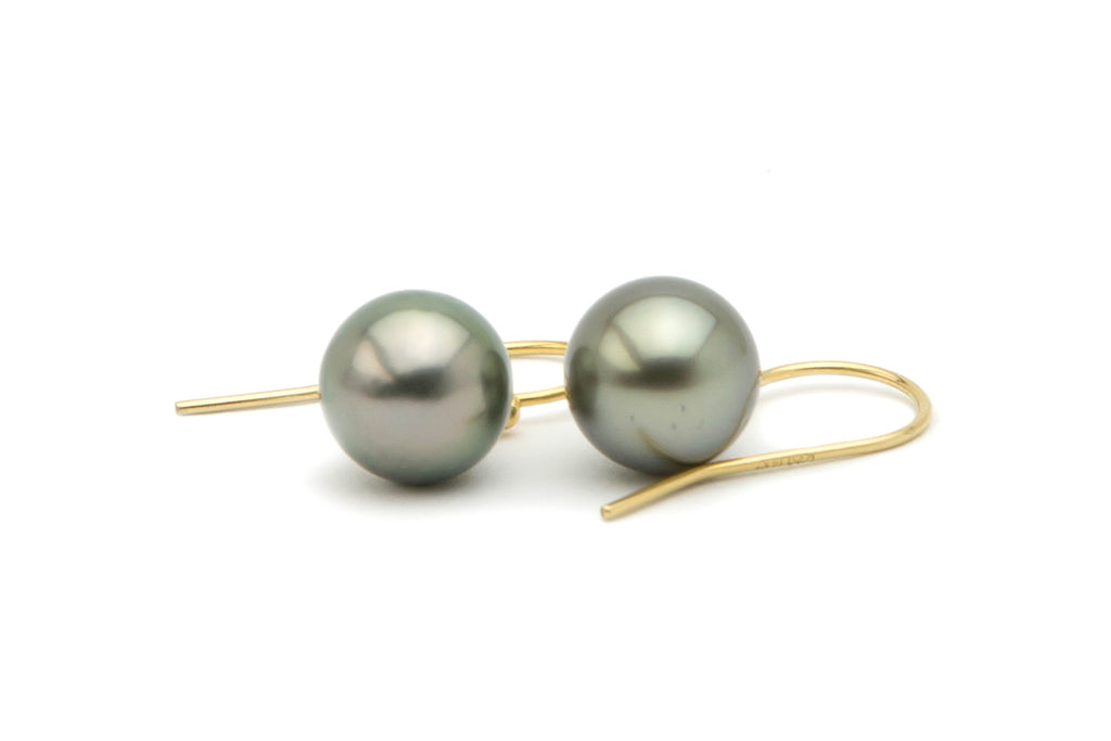 Silvery round Tahitian pearl dangles