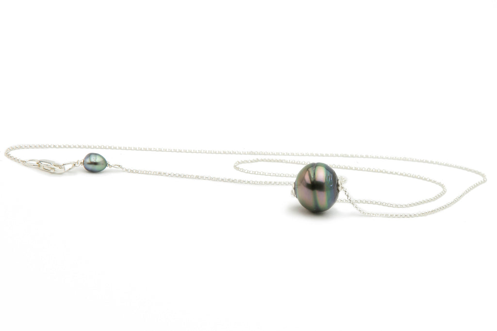 Floating blue, pink, green Tahitian pearl slider necklace