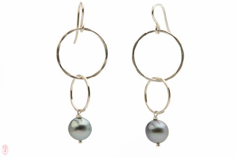 Tahitian pearl dangle earrings on double silver hoops