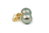 pastel peacock green Tahitian pearl stud earrings