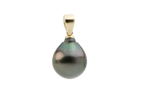 Perfect Kamoka 14mm drop Tahitian pearl pendant