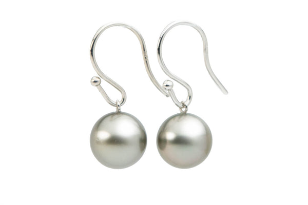 silver round Tahitian pearl dangles on 14K white gold ear wires