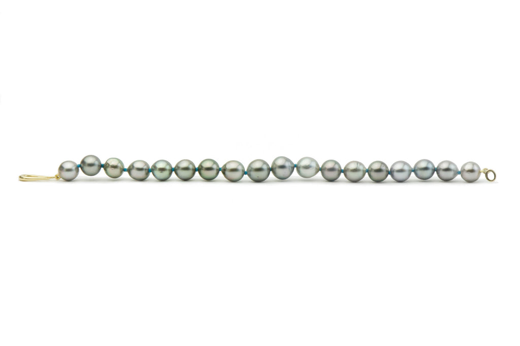 Light silver blue green baroque Tahitian pearl bracelet on turquoise thread