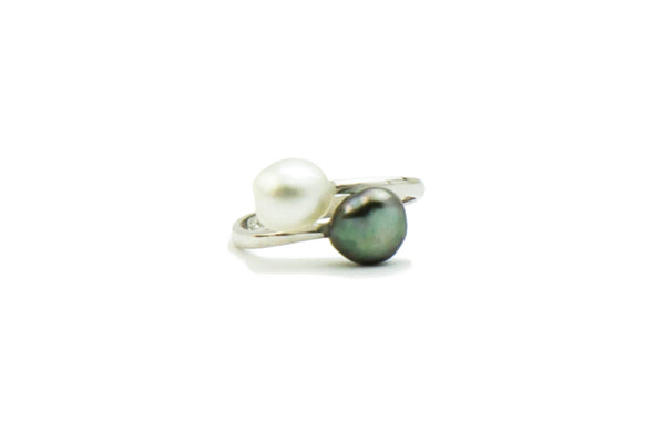 White and green bypass Tahitian keshi and silver ring