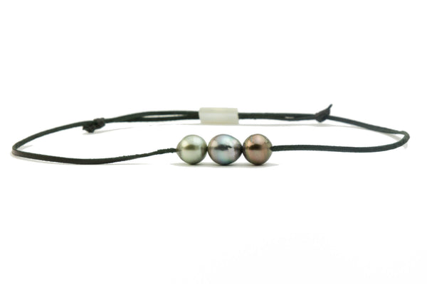 14mm Triple Tahitian pearl and kangaroo leather mana necklace