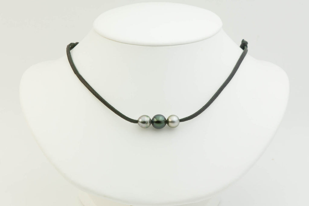 Triple Tahitian pearl kangaroo leather mana necklace