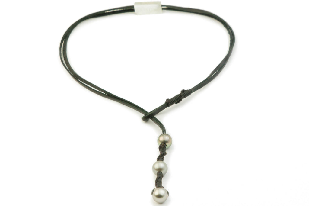 Tahitian pearl and kangaroo leather woven lariat necklace