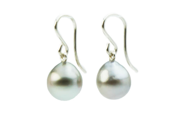 Silver baroque Tahitian pearl dangle earrings