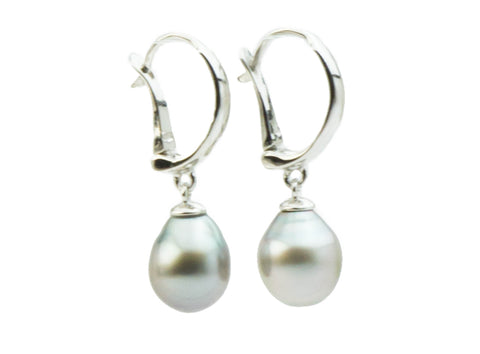 Silvery Tahitian Pearl Lever Backs