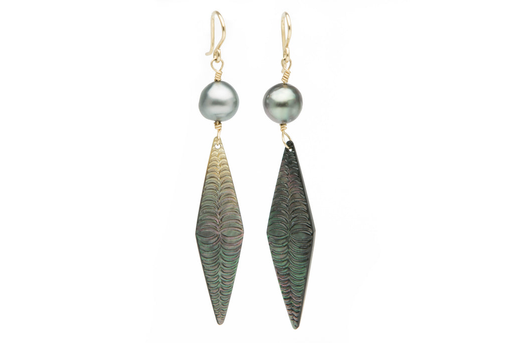 Mother of Pearl Diamond Tapa & Tahitian Pearl Earrings