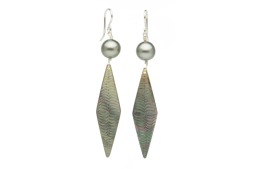Hand carved mother of pearl and Tahitian pearl earrings