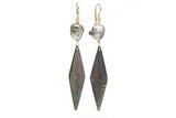 Mother of Pearl Diamond Tapa & Tahitian Keshi Pearl Earrings