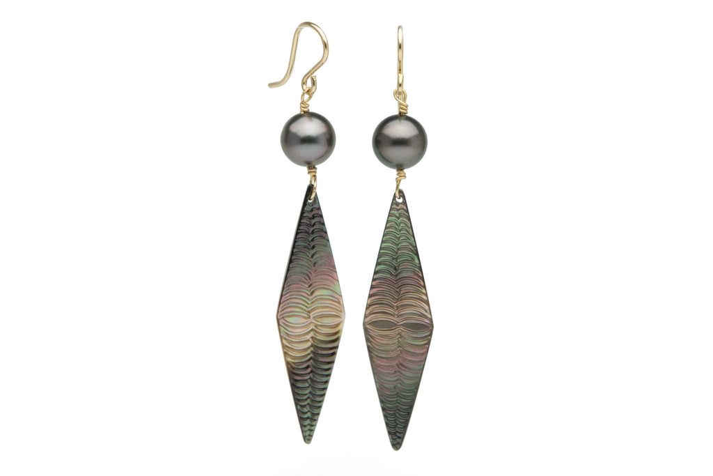 Tahitian pearl and mother of pearl hand carved dangle earrings
