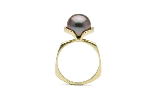 Purple, natural Tahitian pearl ring, 10mm, 14K gold