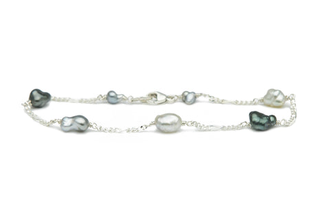 Tahitian baroque keshi pearl Tin Cup Sterling silver chain bracelet