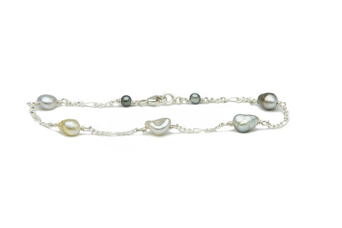 Tahitian keshi pearl Tin Cup Sterling silver chain bracelet