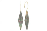 Tahitian mother of pearl hand carved tapa dangle earrings