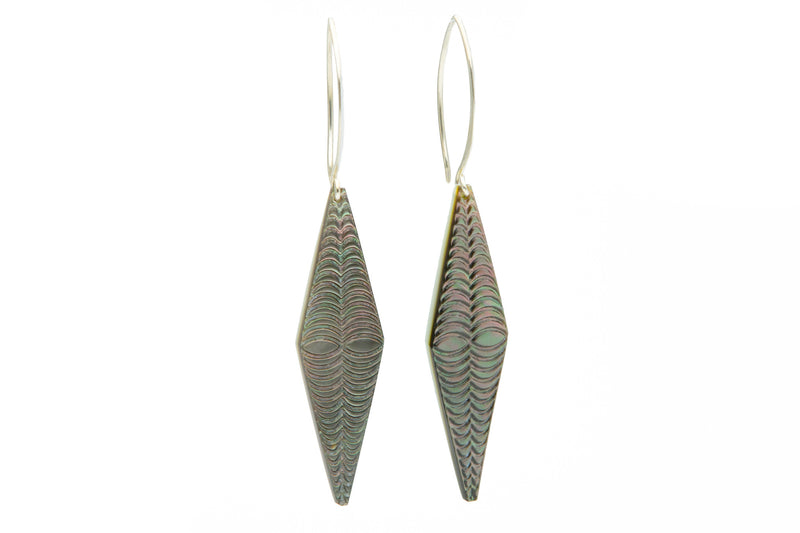 Mother of Pearl Diamond Tapa Earrings - Silver