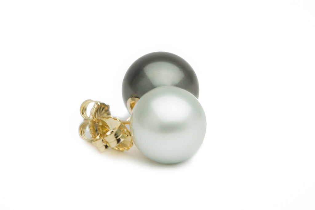 Black and white 13mm Tahitian pearl stud earrings