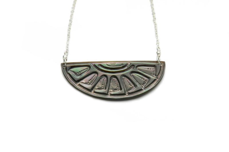 Tahitian Sunrise Half Moon Necklace on Silver (Dark)