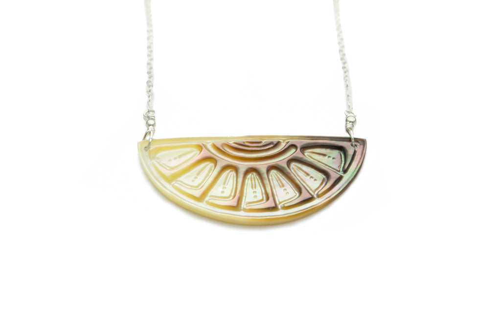 Tahitian Sunrise Half Moon Necklace on Silver (Light)