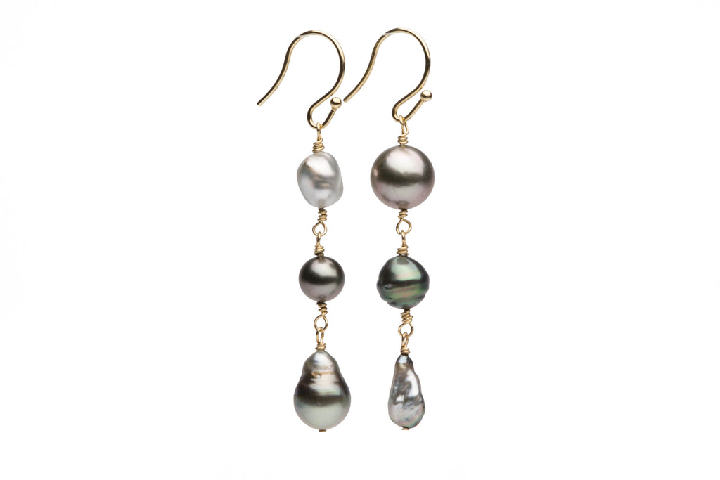 harvest Tahitian pearl ad keshi dangle earrings
