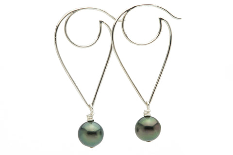Tahitian pearl wire wave hoop earrings on Sterling silver